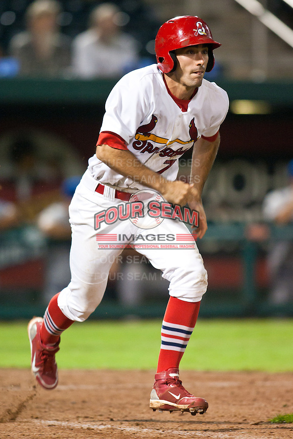 July 21, 2010 Matt Carpenter (7) in action during the MiLB game between the Tulsa Drillers and the Springfield Cardinals at Hammons Field in Springfield Missouri.  Tulsa won 5-3