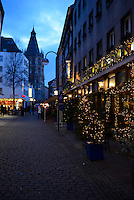 Cologne Street At Night With Christmas Illumination, Germany