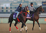 Trinniberg, trained by Shivananda Parbhoo and Almost an Angel, trained by Wesley Ward, exercise in preparation for the upcoming Breeders Cup at Santa Anita Park on October 31, 2012.