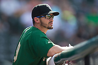 Savannah Sand Gnats manager Jose Leger (19) watches the action from the dugout during the game against the Hickory Crawdads at L.P. Frans Stadium on June 14, 2015 in Hickory, North Carolina.  The Crawdads defeated the Sand Gnats 8-1.  (Brian Westerholt/Four Seam Images)
