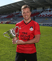 2014 McCAMBLEY CUP FINAL - Ards 4 vs Cookstown | Saturday 26th April 2014<br /> <br /> Ards 4's skipper Stephen Bell with the 2014 McCambley Cup after his side defeated Cookstown in the Final at Ravenhill Stadium, Belfast.<br /> <br /> Mandatory Credit - Photo by John Dickson - DICKSONDIGITAL