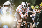 Polka Dot Jersey Ide Schelling (NED) Bora-Hansgrohe in action during Stage 5 of the 2021 Tour de France, an individual time trial running 27.2km from Change to Laval, France. 30th June 2021.  <br /> Picture: A.S.O./Pauline Ballet | Cyclefile<br /> <br /> All photos usage must carry mandatory copyright credit (© Cyclefile | A.S.O./Pauline Ballet)
