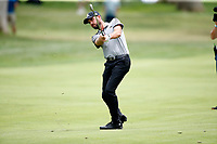 3rd July 2021, Detroit, MI, USA;   Troy Merritt hits his second shot on the first hole on July 3, 2021 during the Rocket Mortgage Classic at the Detroit Golf Club in Detroit, Michigan.