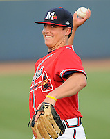 10 April 2008: RHP Kris Medlen (23) of the Mississippi Braves, Class AA affiliate of the Atlanta Braves, in a game against the Mobile BayBears at Trustmark Park in Pearl, Miss. Photo by:  Tom Priddy/Four Seam Images