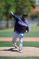 Minnesota Twins pitcher Edwar Colina (75) during a Minor League Spring Training game against the Tampa Bay Rays on March 17, 2018 at CenturyLink Sports Complex in Fort Myers, Florida.  (Mike Janes/Four Seam Images)