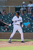 Salt River Rafters center fielder Corey Ray (2), of the Milwaukee Brewers organization, at bat during a game against the Peoria Javelinas on October 16, 2017 at Salt River Fields at Talking Stick in Scottsdale, Arizona. The Javelinas defeated the Rafters 6-2. (Zachary Lucy/Four Seam Images)