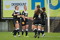 players of Aalst celebrating the goal of Margaux Van Ackere  (37 of Aalst)  pictured during a female soccer game between Eendracht Aalst and AA Gent Ladies on the 10 th matchday of the 2020 - 2021 season of Belgian Scooore Womens Super League , Saturday 19 th of December 2020  in Aalst , Belgium . PHOTO SPORTPIX.BE | SPP | DIRK VUYLSTEKE