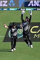 20th December 2020; Hamilton, New Zealand;  James Neesham (L) and Tim Seifert celebrate the wicket of Mohammad Rizwan, New Zealand Black Caps versus Pakistan, International Twenty20 Cricket. Seddon Park, Hamilton, New Zealand.