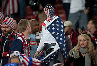 A USA fan after the end of the  2010 World Cup match at Ellis Park Stadium.  The USA and Slovenia at Ellis Park in Johannesburg, South Africa on Friday, June 18, 2010.  The USA tied Slovenia 2-2.