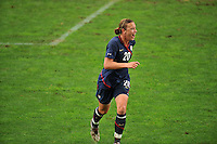 A jubilant Abby Wambach after scoring a goal. The USA captured the 2010 Algarve Cup title by defeating Germany 3-2, at Estadio Algarve on March 3, 2010.