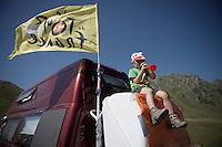 young fan up the Col du Tourmalet (HC/2115m/17km/7.3%)<br /> <br /> st11: Pau - Cauterets (188km)<br /> 2015 Tour de France