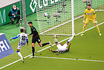17.10.2020, OLympiastadion, Berlin, GER, DFL, 1.FBL, Hertha BSC VS. VfB Stuttgart, <br /> DFL  regulations prohibit any use of photographs as image sequences and/or quasi-video<br /> im Bild Carneiro da Cunha (Hertha BSC Berlin #10), Jhon Cordoba (Hertha BSC Berlin #15), Atakan Karazor (VfB Stuttgart #16), Gregor Kobel (VfB Stuttgart #1)<br /> <br />     <br /> Foto © nordphoto /  Engler