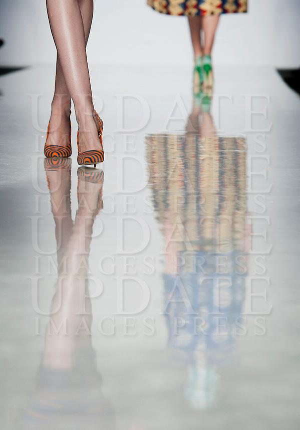 Modelle presentano le creazioni di Stella Jean durante la rassegna ITC's Ethical Fashion Initiative con Altaroma a Roma, 7 Luglio 2013..<br /> Models wear creations of Stella Jean during the  ITC's Ethical Fashion Initiative and  Altaroma in Rome, 7 July 2013.<br /> UPDATE IMAGES PRESS/Virginia Farneti
