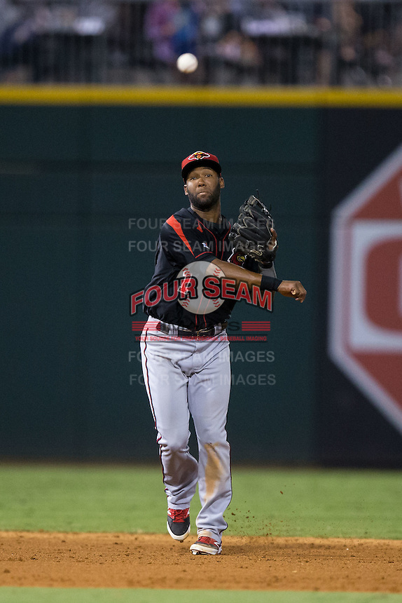 Rochester Red Wings shortstop Danny Santana (1) makes a throw to first base against the Charlotte Knights at BB&T BallPark on August 8, 2015 in Charlotte, North Carolina.  The Red Wings defeated the Knights 3-0.  (Brian Westerholt/Four Seam Images)
