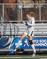 College of St Rose forward Jennifer Busk (27) heads the ball. . In 2012 NCAA Division II Women's Soccer Championship Tournament First Round, College of St Rose (white) defeated Wilmington University (black), 3-0, on Ronald J. Abdow Field at American International College on November 9, 2012.