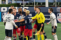 FOXBOROUGH, MA - OCTOBER 19: Tempers flare on the sideline during a game between Philadelphia Union and New England Revolution at Gillette on October 19, 2020 in Foxborough, Massachusetts.