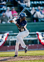 20 June 2021: Westfield Starfires designated hitter Jaden Brown, from Mississauga, ON, in action against the Vermont Lake Monsters at Centennial Field in Burlington, Vermont. The Starfires defeated the Vermont Lake Monsters 10-2 at Centennial Field, in Burlington, Vermont. Mandatory Credit: Ed Wolfstein Photo *** RAW (NEF) Image File Available ***