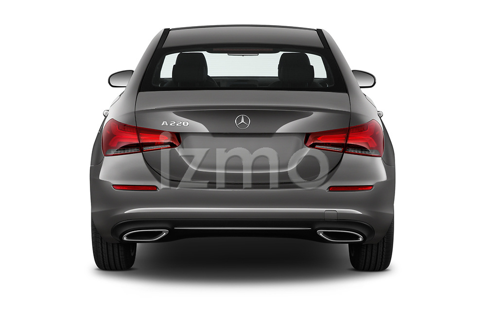 Straight rear view of 2019 Mercedes Benz A-Class-Sedan A-220 4 Door Sedan Rear View  stock images