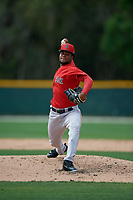 Boston Red Sox pitcher Yasel Santana (93) during a Minor League Spring Training game against the Baltimore Orioles on March 20, 2019 at the Buck O'Neil Baseball Complex in Sarasota, Florida.  (Mike Janes/Four Seam Images)