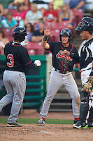 Great Lakes Loons designated hitter Willie Calhoun (3) high fives Jimmy Allen (15) after hitting a home run during a game against the Kane County Cougars on August 13, 2015 at Fifth Third Bank Ballpark in Geneva, Illinois.  Great Lakes defeated Kane County 7-3.  (Mike Janes/Four Seam Images)
