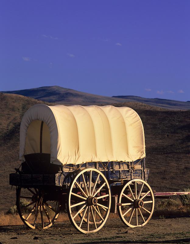 Covered wagon at Oregon Trail Interpretive Center. Near Baker City, Oregon