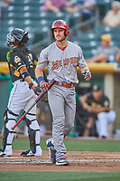 Patrick Wisdom (5) of the Memphis Redbirds in action against the Salt Lake Bees at Smith's Ballpark on July 24, 2018 in Salt Lake City, Utah. Memphis defeated Salt Lake 14-4. (Stephen Smith/Four Seam Images)