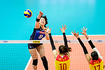 Mami Uchiseto of Japan (L) in action during the match between China and Japan on May 30, 2018 in Hong Kong, Hong Kong. (Photo by Power Sport Images/Getty Images)