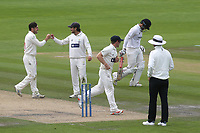 Andrew Salter (far left) of Glamorgan celebrates taking the wicket of Daniel Ibrahim of Sussex during Sussex CCC vs Glamorgan CCC, LV Insurance County Championship Group 3 Cricket at The 1st Central County Ground on 5th July 2021