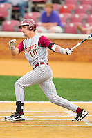 Justin Gonzalez #10 of the Florida State Seminoles follows through on his swing against the Wake Forest Demon Deacons at Wake Forest Baseball Park on March 25, 2012 in Winston-Salem, North Carolina.  The Demon Deacons defeated the Seminoles 7-5.  (Brian Westerholt/Four Seam Images)
