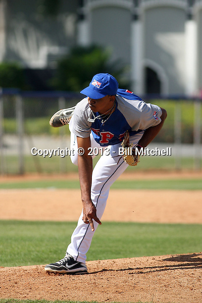 Mayky Perez participates in the Dominican Prospect League showcase at the New York Yankees academy on September 19,2013 in Boca Chica, Dominican Republic.