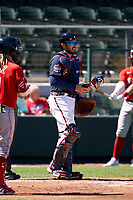 Atlanta Braves catcher Travis d'Arnaud (16) during a Major League Spring Training game against the Boston Red Sox on March 7, 2021 at CoolToday Park in North Port, Florida.  (Mike Janes/Four Seam Images)