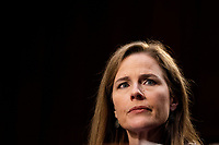 Judge Amy Coney Barrett speaks during the third day of her Senate confirmation hearing to the Supreme Court on Capitol Hill in Washington, DC on October 14, 2020. <br /> CAP/MPI/RS<br /> ©RS/MPI/Capital Pictures