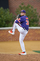 Clemson Tigers starting pitcher Clate Schmidt (32) warms up in the bullpen prior to the game against the Wake Forest Demon Deacons at David F. Couch Ballpark on March 12, 2016 in Winston-Salem, North Carolina.  The Tigers defeated the Demon Deacons 6-5.  (Brian Westerholt/Four Seam Images)