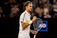 19th February 2021, Melbourne, Victoria, Australia; Daniil Medvedev of Russia celebrates after winning his match during the semifinals of the 2021 Australian Open on February 19 2021, at Melbourne Park in Melbourne, Australia.