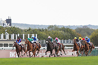 4th October 2020, Longchamp Racecourse, Paris, France; Qatar Prix de l Arc de Triomphe;  Sottsass ridden by Cristian Demuro - In Swoop - Ronan Thomas - Persian King - Pierre Charles Boudot