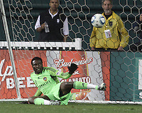 Donovan Ricketts (1) of the Los Angeles Galaxy is beaten from the penalty spot for the tying goal during an MLS match against D.C. United at RFK Stadium, on April 9 2011, in Washington D.C. The game ended in a 1-1 tie.
