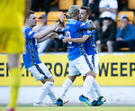 St Johnstone v Falkirk…24.07.18…  McDiarmid Park    Betfred Cup<br />Stefan Scougall celebrates his goal with Richie Foster and Liam Craig<br />Picture by Graeme Hart. <br />Copyright Perthshire Picture Agency<br />Tel: 01738 623350  Mobile: 07990 594431