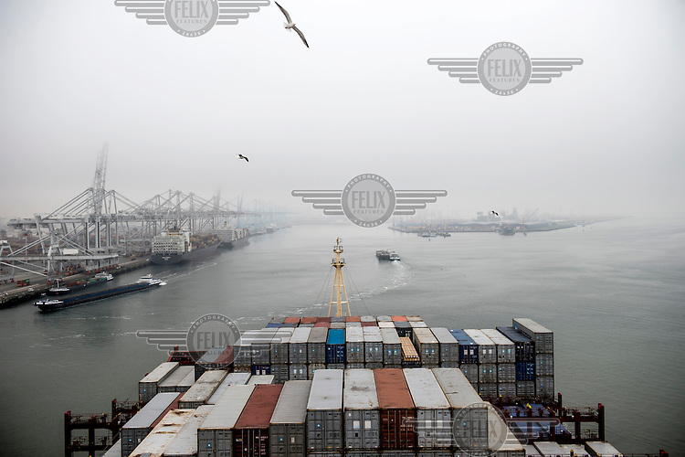 The Mary Maersk, the largest container ship in the world, arrives at Rotterdam.