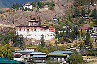 Paro, Bhutan.  The Paro Dzong (Fortress).