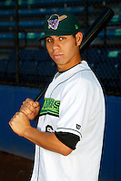 Jamestown Jammers shortstop Pedro Mendoza #6 poses for a photo before a game against the Mahoning Valley Scrappers at Russell E. Diethrick Jr Park on September 2, 2011 in Jamestown, New York.  Mahoning Valley defeated Jamestown 8-4.  (Mike Janes/Four Seam Images)