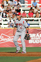Carolina Mudcats shortstop Tony Wolters #11 at his position during the first game of a doubleheader against the Myrtle Beach Pelicans at Tickerreturn.com Field at Pelicans Ballpark on May 10, 2012 in Myrtle Beach, South Carolina. Myrtle Beach defeated Carolina by the score of 2-1. (Robert Gurganus/Four Seam Images)