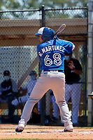Toronto Blue Jays Gabriel Martinez (68) bats during a Minor League Spring Training game against the Detroit Tigers on April 22, 2021 at Tigertown in Lakeland, Florida.  (Mike Janes/Four Seam Images)