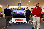 Kerry's Eye Fantasy Football winner Johnny Brosnan from Cordal received his prize of a television from competition sponsors Soundstore Tralee's manager Brian O'Donoghue on Tuesday. L to r: Brian O'Donoghue (Soundstore), Jason O'Connor (Kerrys Eye) and Johnny Brosnan.