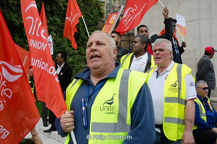 London bus drivers  protest outside Parliament and call for strike action for collective bargaining rights and equal pay.