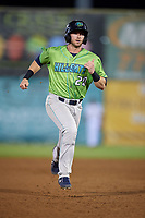 Lynchburg Hillcats catcher Logan Ice (20) runs the bases during a game against the Salem Red Sox on May 10, 2018 at Haley Toyota Field in Salem, Virginia.  Lynchburg defeated Salem 11-5.  (Mike Janes/Four Seam Images)