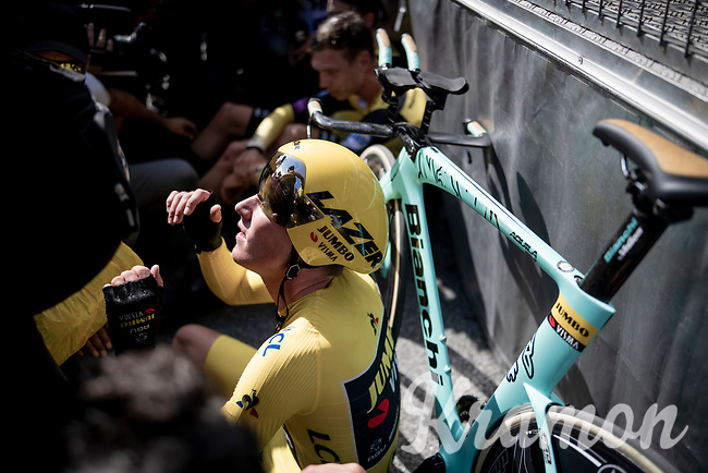 Last team to start is also the winning team at the finish; Team Jumbo-Visma wins the TTT and (almost) all of the jerseys > their post-finish joy is as high.<br /> Yellow jersey / GC leader Mike Teunissen (NED/Jumbo-Visma) absorbing all the emotions<br /> <br /> Stage 2 (TTT): Brussels to Brussels(BEL/28km) <br /> 106th Tour de France 2019 (2.UWT)<br /> <br /> ©kramon