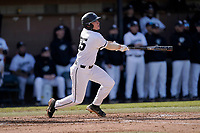 Chase Matheny (25) of the University of South Carolina Upstate Spartans bats in a game against the University of Toledo Rockets on Friday, February 19, 2021, at Cleveland S. Harley Park in Spartanburg, South Carolina. Upstate won, 14-2. (Tom Priddy/Four Seam Images)