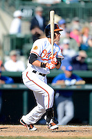 Baltimore Orioles shortstop Ryan Flaherty #3 during a Spring Training game against the Toronto Blue Jays at Ed Smith Stadium on March 7, 2013 in Sarasota, Florida.  Balitmore defeated Toronto 11-10.  (Mike Janes/Four Seam Images)