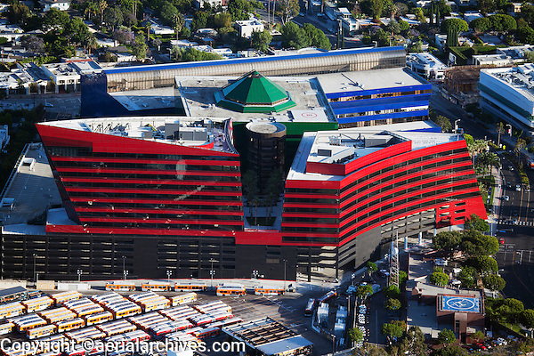 aerial photograph Pacific Design Center, West Hollywood, Los Angeles, California