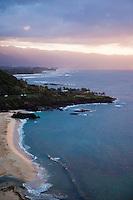 Waimea Bay Beach Park at sunset, Oahu